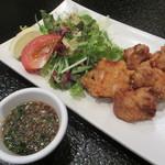 12840776 - 信州福味鶏の唐揚げ(葱ソース添え) 1100円