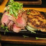 みぃーの食卓 - 男前御膳 山盛りレアステーキ&バーグ
