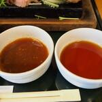 みぃーの食卓 - 男前御膳 山盛りレアステーキ&バーグ(ソース)
