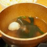 みぃーの食卓 - 男前御膳 山盛りレアステーキ&バーグ(わかめスープ)