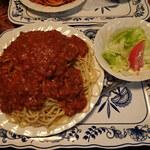 さぼうる 2 - ミートソース大盛り(サラダ付)750円(大盛りプラス150円)