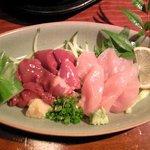 つけめん KONPEI  - 朝〆鶏レバ刺し盛り合わせ