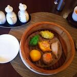 128602566 - ◆お愉しみ六種蒸篭◆♪                                              ◆調味料◆お酢・醤油・ラー油♪