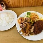 ワンポイント - 料理写真:生姜焼き&メンチカツ