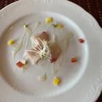 カノーバ・カノーバ・ディ・メイプルシティ - カルパッチョと前菜の盛り合わせ380円のカルパッチョ。 私のはブリでした。