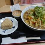 千里庵 - 2004_千里庵_ちゃんぽんセット@870円_ちゃんぽん、かやくご飯おにぎり、甘味