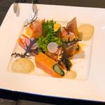 128668108 - キヌアと野菜を詰めたサーモン・ポピエットはレモン風味の爽やかな冷製料理でした(o^^o)