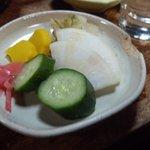 武蔵屋 - 2012.5 酒3杯酒肴5品(2,200円)の内、漬け物