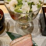 うなぎ割烹 白金台 まつ本 - ◇スモーク鴨◇ホタテと水菜とトマトのサラダ