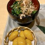 うなぎ割烹 白金台 まつ本 - ◇銀杏揚げ◇菜の花辛し和え