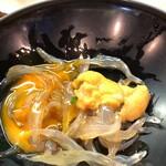 初芳鮨 - 白魚 海胆、 鶉卵の