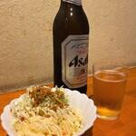 じぃえんとるまん - 料理写真:じぃえんとるまん@二俣川駅前店 瓶ビールとポテトサラダ