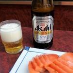 やしろ食堂 - 冷やしトマトとビール