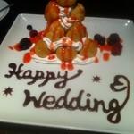 12875974 - 友達カップルの結婚をお祝いするためにデザート用意してもらいました!