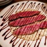 128767797 - カリっと仕上げた鴨胸肉のキャラメリゼ                         バルサミコ 濃厚チーズリゾット 1650円