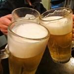 12877434 - かんぱ~い♪ ビールはサッポロ黒ラベルでした。