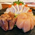 すゞき - 鶏造り(三種盛り)