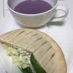 マエダ ブリーズ - ポテトサラダのピタサンドと紅芋スープ