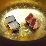 三谷 - 静岡県焼津産の鰹と山口県産の平貝