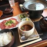 和食れすとらん 天狗 - 薄切り牛タンの塩焼きとミニタンシチューセット