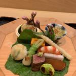 128813324 - 八寸 唐墨大根 和牛いちぼローストビーフ 飯蛸 平目手毬寿司 など