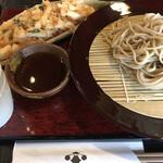 つる亀庵 - もりそばと桜海老と長芋のかき揚げ