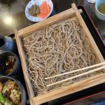 そば処 萬乃助 - 板そば大盛り+野菜天丼
