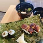 うなぎ亭一座 - 一座御膳の鰻にぎり・鰻細巻と吸物