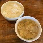 中華バルSAISAI。 - ごはんと竹の子入り野菜たまごスープ