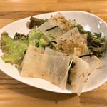 料理や こうしゅう庵 - かつらむき大根と揚げじゃこサラダとりわけ