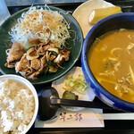 半二郎 - 日替りランチ…(金)カルビ焼肉(ごはん 半分)¥910(税込)
