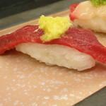桜なべ中江別館 金村 - 馬刺し握り寿司 ロース