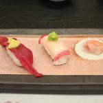 桜なべ中江別館 金村 - おしのぎ 馬刺し握り寿司