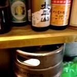 てっちゃん - 2012/05  カウンター席に座ってビア樽を背中に当ててコリほぐし f ^ ^;;;
