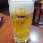 中華食堂一番館 - 生ビール ※なぜか私だけクリアアサヒのジョッキで