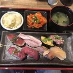伊勢佐木町 肉寿司 - ランチの盛り合せ
