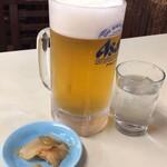 食道楽 - 生ビールにはザーサイ付き
