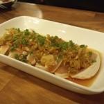 もつ焼き 酒場野田 - 2012.5 たたきピリからポンズ(420円)総州古白鶏使用