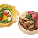 たくあん・牡丹亭 - やわらかローストビーフ&和牛カルビ焼きわっぱ サラダ、お茶付き 2500円