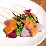 129175730 - サーモンのマリネと鎌倉野菜のサラダ