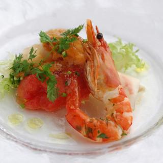 代官山ASO チェレステ - 料理写真:タラバ蟹のカネロニ仕立てと雲丹、海老、帆立のサラダ