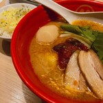 TOKYO豚骨BASE MADE by博多一風堂 - ♦︎期間限定チリトマト豚骨noodle チーズごはんセット ¥1,000