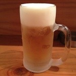 Usagishokudou - 生ビール。ヒンヤリよく冷えている。