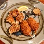 十番右京 - カニクリームコロッケと大山鶏の唐揚げ