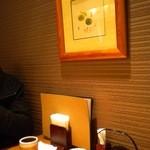 京おばんざい うどん つるはん - 客席横の装飾