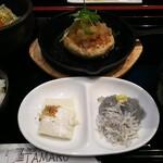 牡蠣うにいくらと肉汁こぼれる和酒たまる - 「大山豆腐入りのハンバーグ」