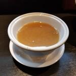 らーめん三極志 - 鴨白湯つけ麺のスープ割