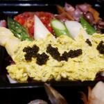 129366894 - アスパラガスのサラダ・サルサミモザとキャビア 奥がホタルイカと菜の花のマリネ、ツナとパプリカのマリネ