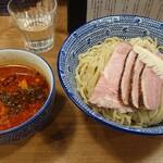 麺屋福丸 - 鴨だし辛つけ麺(2辛)+大盛+鴨チャーシュー。