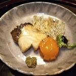 129375632 - 焼物;鰤幽庵、たたみいわし、蕗の薹唐揚げ、田楽味噌、金柑シロップ煮